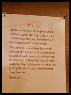 You DO NOT Have To Pay For Walk-Outs | the bitchy waiter