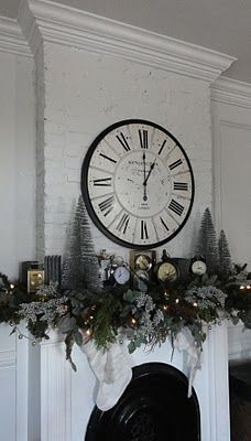 The mantle is adorned with vintage clocks collected for the past few months from flea markets and thrift stores. The large clock, new, on the fireplace was a lucky find last week and replaced a mirror that usually hangs in its place.