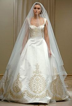 couture ball gown satin with gold embroidery wedding gowns on www.bestbridalweddingdress.com