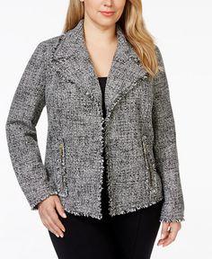MICHAEL Michael Kors Plus Size Fringed Tweed Boxy Jacket