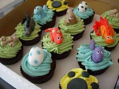 A variety of dinosaur decorated cupcakes is the perfect way to incorporate all sorts of dinos!