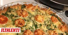Herkullinen suolainen piirakka syntyy helposti fetajuustosta, pinaatista ja kirsikkatomaateista. Feta, Quiche, Food And Drink, Bread, Baking, Breakfast, Sweet, Recipes, Mascarpone