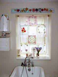 Vintage hankie curtain - love the pelmet too!