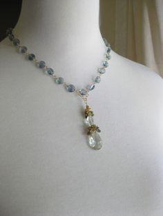 Green amethyst statement necklace  tourmaline