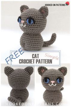 Pin the Free Crochet Cat Pattern from Hooked On Patterns. A simple yet adorable little crocheted cat. These are super quick and easy to make! #crochet #pattern #freecrochetpattern #cat #kitten #cute #amigurumi #stuffedtoy