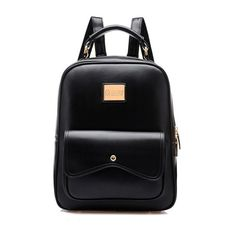 Stylish Elegant Candy Color PU Leather Backpack found on Polyvore featuring bags, backpacks, black, newchic, accessories, day pack backpack, zip bag, pu leather backpack, zipper bag and knapsack bag