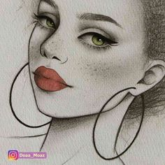 African girl portrait, pencil sketch with watercolor red lips Girl Drawing Sketches, Girly Drawings, Pencil Art Drawings, Cool Art Drawings, Easy Drawings, Cute Drawings Of Girls, Sketches Of Girls, Pretty Drawings, Couple Drawings