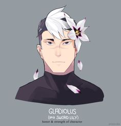 Shrio and Black and White Sword Lily Flower in his hair from Voltron Legendary Defender