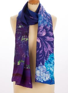 'Blue Violet Trees' long silk limited edition Susannagh Grogan scarf. 'A thing of beauty is a joy forever'