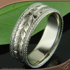 Men's Engraved Wedding Band at Green Lake Jewelry