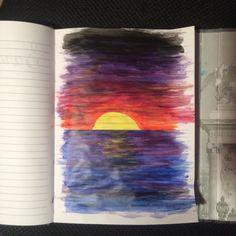Sunset acrylic paint. Art journal.