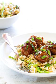 Soy-Ginger Meatballs with Zucchini and Snow Pea Fried Rice are an Asian-inspired meal with exquisite flavors. It'll become a regular in your house! ~ My Baking Addiction Pork Recipes, Asian Recipes, Cooking Recipes, Healthy Recipes, Meatball Recipes, Ethnic Recipes, Good Food, Yummy Food, Tasty