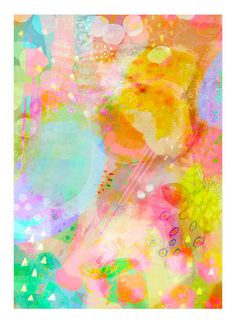 Summers Dream 2 abstract print with pastel by BerengereDucomsArt, $26.61