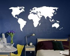 World Map Wall Decal for Home or Office - chalkboard white chalk board dry erase…