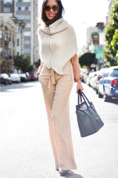 9to5chic: Soft Colors    Wearing:   Blouse - Zara  Shrug/Snood/Sweater - H&M  Trousers - Zara  Ring - H&M  Heels - Alaia  Sunglasses - Prada  Purse - Celine
