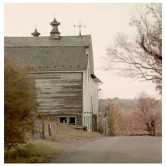 Barn Photo, farm, landscape photography, country road, farm print,... ❤ liked on Polyvore featuring backgrounds