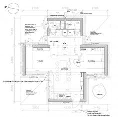 Floor plan of Palladio i Strandbaden by DinellJohansson Modern Floor Plans, House Floor Plans, Home Design Plans, Plan Design, Small Villa, Beautiful Small Homes, Micro House, Tiny House, Small Buildings