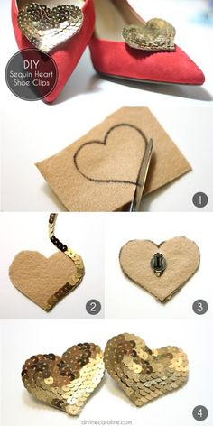Diy shoe clip ideas to make your footwear betterDIY Shoe Clip Ideas are the simple and stylish clips that you can made by your hand easily for your footwear customization.Love these DIY Sequin Heart Shoe Clips! You could glue and layer up larger loose seq Embroidery Jewelry, Beaded Embroidery, Fabric Jewelry, Diy Jewelry, Shoe Makeover, Shoe Refashion, Sequin Shoes, Diy Accessoires, Creation Couture