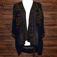 ANTHROPOLOGIE Jacket Beaded Kimono Cardigan Blazer Size XS. Perfect Condition. $198 Retail + Tax.   • Beautiful draped embellished cardigan featuring intricate beaded detailing & cape-like silhouette. • Gauzy, semi-sheer cotton fabric. • Perfect for layering & pairing with denim. • By Love Sam Clothing for Anthropologie.  • Measurements in comment(s) section below.  {Southern Girl Fashion - Closet Policy}   ✔️ Same-Business-Day Shipping (10am CT). ✔️ Reasonable best offer considered when…