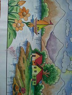 Oil Pastel Paintings, Oil Pastel Drawings, Oil Pastel Art, Indian Art Paintings, Colorful Drawings, Scenery Drawing For Kids, Art Drawings For Kids, Tree Drawings Pencil, Crayon Drawings