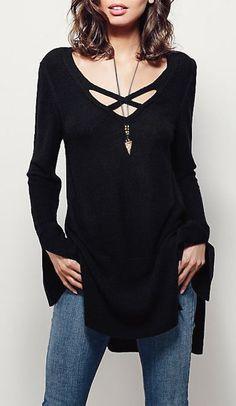 Black Sweater Dress - Great V-Neck Design