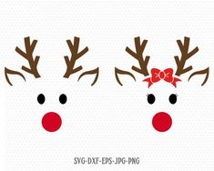 cricut crafts cute reindeer svg, Reindeer SVG, Boy and Girl Reindeer, Christmas SVG Cutting File Svg, CriCut Files svg jpg png dxf Silhouette Christmas Vinyl, Christmas Shirts, Reindeer Christmas, Christmas Unicorn, Reindeer Noses, Reindeer Craft, Reindeer Drawing, Illustration Noel, Holiday Crafts