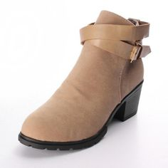 Women Buckle Suede Square Heel Ankle Boot - Gchoic.com #shoes #women #popular #fashion #discount #cheap #want Pinterest