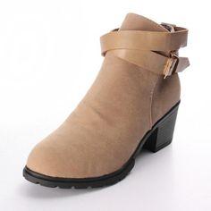 Women Buckle Suede Square Heel Ankle Boot - Gchoic.com #shoes #women #popular #fashion #discount #cheap #want Pinterest