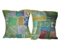 Peasant Cushion Cover, Green Patchwork Sari Cushion Cover $22.99