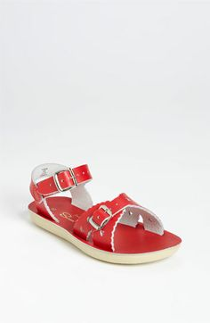 Sweet red heart cut out sandals- adorable on a little girlie at her Teddy Bear Picnic Birthday Party! Hoy Shoe 'Sweetheart' Sandal (Walker, Toddler & Little Kid) available at #Nordstrom