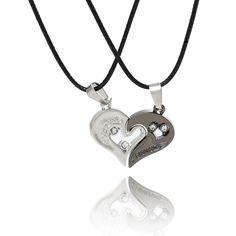 Couple Necklace Silver Lover Pendant Love Heart Choker Collier