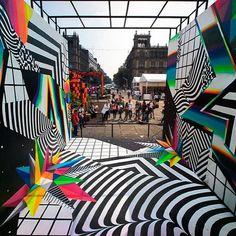 Felipe Pantone's outdoor Murals Evoke Computer Glitches
