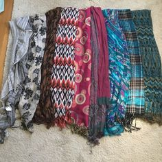 9 scarf bundle 9 scarves. Some sheer, some thick. Middle scarf in 3rd pic has some pulls. Can be individually purchased. Accessories Scarves & Wraps
