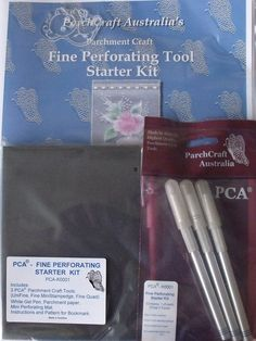 PCA FINE PERFORATING STARTER KIT    The Fine Starter Kit includes:  3 PCA Parchment Craft Tools (Unifine, Fine Mini Stamp Edge, Fine Quad)  White Gel Pen, Parchment Paper, Mini Perforating Mat, Instructions and a Pattern for a Bookmark