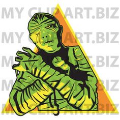 Mummy Clip Art http://www.myclipart.biz/illustration/15026/mummy_wrapped_up_with_his_arms_crossed_in_front_of_him_and_cast_in_green_and_yellow_lighting_over_an_orange_triangle
