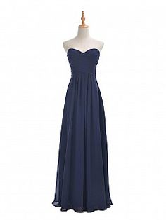 Navy Blue Sweetheart Chiffon Bridesmaid Dress with Lace Up Back - USD $89.99