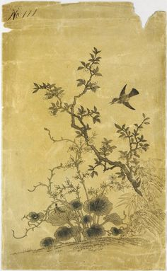 Japanese print showing a design of plants and a bird: Japan, 19th century.