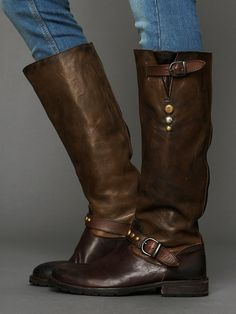 pretty and worn-in, distressed and studded boot.......handcrafted in tuscany......this is Hurricane Tall Boot.......by Hollywood Trading Company.......at Free People......