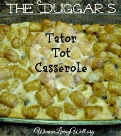If you watch the Duggar's Show titled 19 Kids and Counting, then you may have heard Jim Bob say this Tator Tot Casserole is his favorite! Look how simple it is with only 5 ingredients – woohoo! That's my kind of recipe and yes – it's good – the kids ate it! (Alexis took some …
