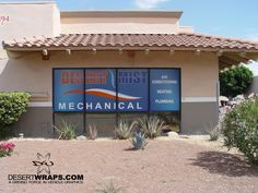 Brand your location's store front. We install high quality perforated window mesh that is clearly visible from the exterior but allows you to see out from the interior. Call DesertWraps.com for more information 760-935-3600  #Window #StoreFront #Exterior #ExteriorBranding #Branding