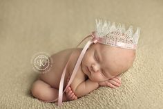 Vintage White Crown with Pink Bow from The Couture Baby