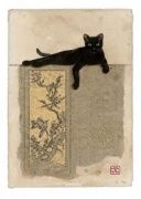 Black Cat Resting Blank Greeting Card