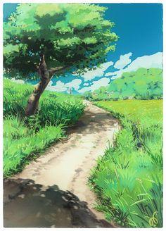 Landscape Concept, Fantasy Landscape, Landscape Art, Landscape Paintings, Landscape Drawings, Landscape Illustration, Watercolor Landscape, Background Drawing, Animation Background