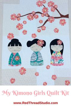 Make this adorable quilt with three beautiful kimono girls and a cherry blossom branch. #quilting: