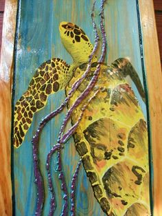 Vibrant+Sea+Turtle+painting+40+x+17+3D+on+recycled+by+oceanarts10,+$295.00