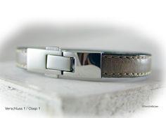 Lederarmband grau silber Edelstahl  von elfenstuebchen auf Etsy