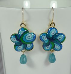 Blue Turquoise mint green polymer clay design gold by NuritNaor, $38.00