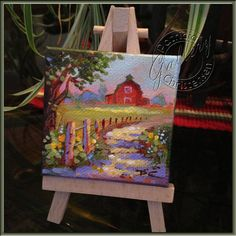 Miniature Painting on Canvas Country Farm Road Barn - Plus Display Easel - by Patricia Lee Christensen - FREE Shipping