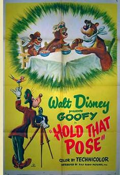 "1950 ""Hold That Pose"" Goofy Disney Cartoon short movie poster Disney Movie Posters, Classic Movie Posters, Classic Cartoons, Disney Cartoons, Retro Posters, Walt Disney, Goofy Disney, Disney Pixar, Animated Cartoon Characters"