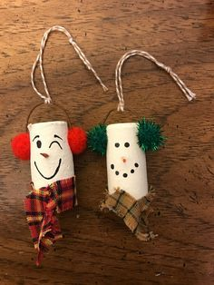 Snowman wine cork ornament set by WillowDezigns on Etsy
